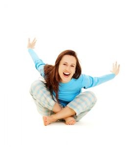 carefree girl in pyjamas